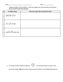 Exponents and Logarithms Test
