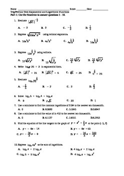 Exponents and Logarithms Test with Multiple Choice