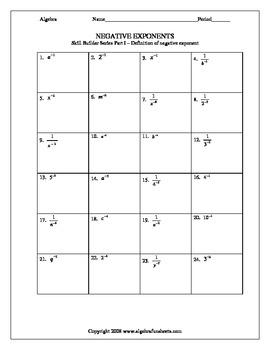 Exponents and Monomials:  Negative Exponent SkillBuilder Series
