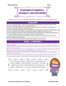 Exponents and Negative Integers Learning Model