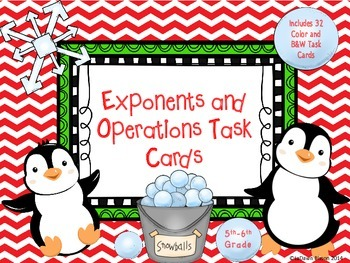 Exponents and Operations Task Cards:  32 Color and B&W Task Cards