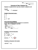 Exponents and Order of Operations Test