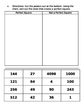Exponents and Perfect Squares Sort