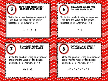 Exponents and Perfect Squares Task Cards