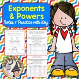 Exponents and Powers Student Notes and Practice with Answer KEY Factors Base