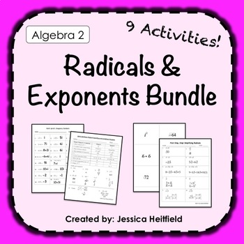 Exponents and Radicals Activity Bundle