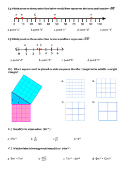 Exponents and Radicals Quiz or Review