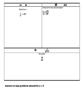 Exponents and Radicals Review MAZE