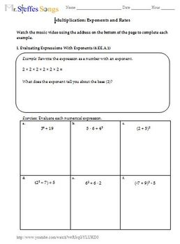 Exponents and Rates Worksheet