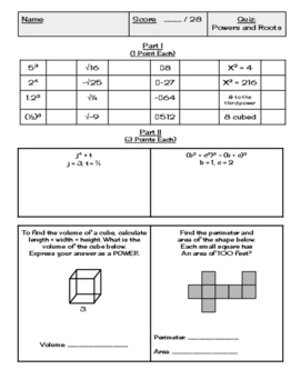 Exponents and Roots Quiz and Answer Key (8.EE.1, 8.EE.2)