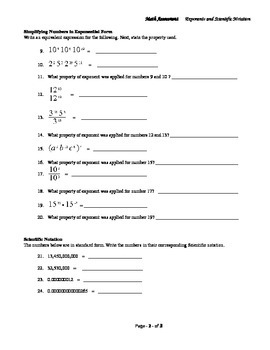 Exponents and Scientific Notation Assessment