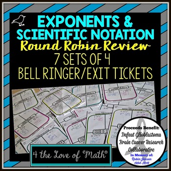 Exponents and Scientific Notation Round Robin Bell Ringer/