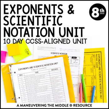 Th Grade Exponents And Scientific Notation Unit Ee Ee