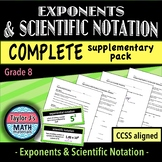 Exponents and Scientific Notation Worksheets - Complete Supplementary Pack
