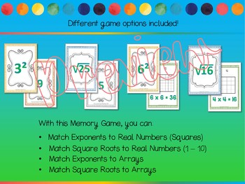 Exponents and Square Roots Memory Game