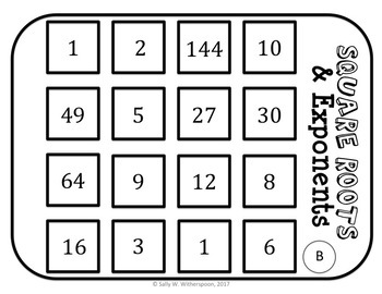 Exponents and Square Roots Number Sort, Matching Game, 10 Versions!
