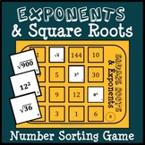 Exponents & Square Roots Number Sort, Matching Game, Math Center, Math Game