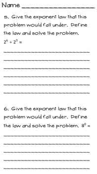 Square Roots and Exponents Quiz or Review