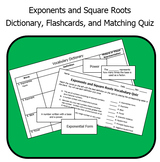 Exponents and Square Roots Vocabulary - Dictionary, Flashcards, and Quiz