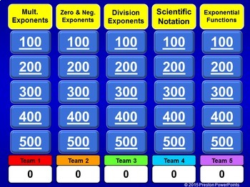 Quiz Show Game Exponents and Exponential Functions in a PowerPoint Presentation