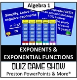 Quiz Show Game Exponents and Exponential Functions in a Po