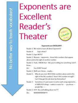 Exponents are Excellent Reader's Theater - Common Core Aligned 1 Day Lesson Plan