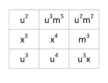 Exponents' game board game