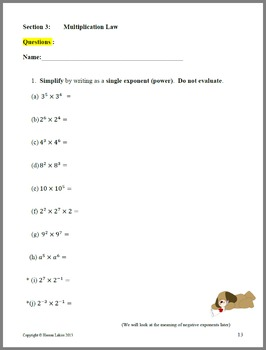 Exponents, including Laws of Exponents, with applications and solutions