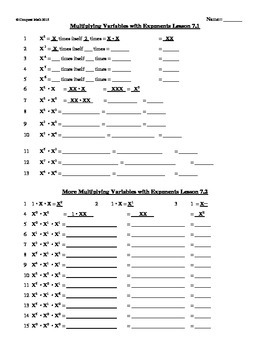Exponents: multiplying, dividing and fraction exponents