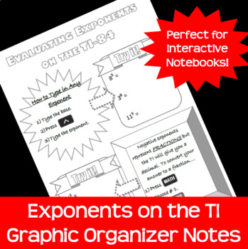 Exponents on the TI-84 Calculator Doodle Notes Graphic Organizer FREEBIE