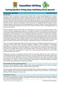 Exposition Writing Unit - Teaching through a scaffolding literacy approach