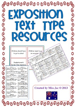 Exposition or persuasive argument genre/text type resource