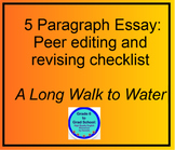 A Long Walk to Water Expository 5 paragraph essay peer revision checklist