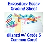 Expository Essay Assessment Sheet aligned with Common Core