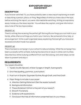 Expository Essay Full Assignment Lesson