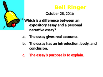 Expository Essay Bellringers