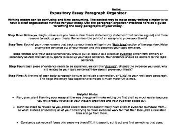 Expository Essay Body Paragraph Graphic Organizer