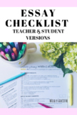 Expository Essay Checklist/Grading Rubric for Teachers and