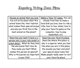 Expository Essay Choice Board and Rubric