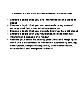Expository Writing Lesson Plan Worksheets: Selecting a Topic