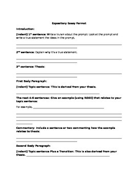 Expository Essay Format By Delicia Pennington  Teachers Pay Teachers Expository Essay Format Thesis Examples For Essays also Write My Literature Review In 8 Hours  Sample Of English Essay