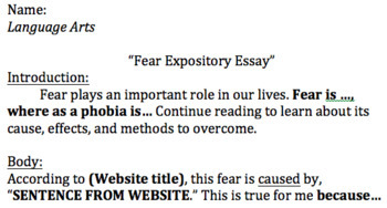 Expository Essay Format & Checklist (For Collections Text)