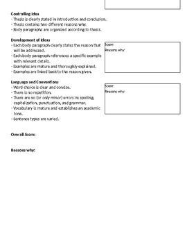 Expository Essay Peer Rating Sheet