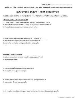 Expository Essay Peer Reflection for Peer Editing