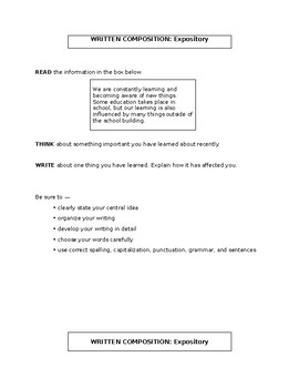 Expository Essay Prompts - 4th Grade