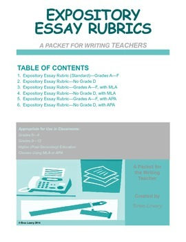 Expository Essay Rubric Packet (for Writing in All Subjects)
