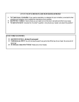 Expository Essay Toolbox Sheet