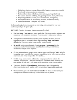 Expository Essay Unit: Open-ended Prompt Emphasizing Voice/Style