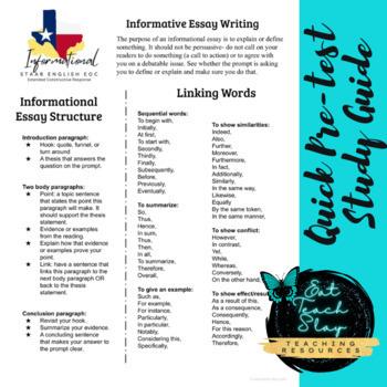Expository Essay Writing STAAR English I EOC