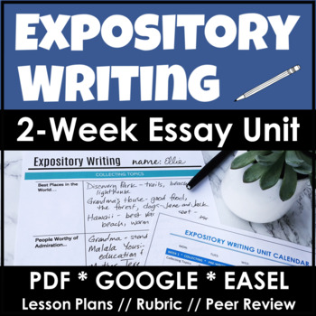 Expository writing essay unit with complete lesson plans student